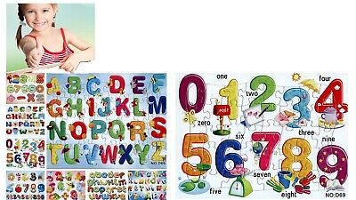 £2.80 • Buy Kid Baby Toddler Wooden Jigsaw Puzzle Alphabet Letters Animal Early Learning Toy