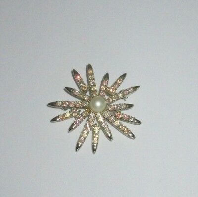 $8.75 • Buy Vintage Emmons Signed Pin Brooch Gold Faux Pearl AB Rhinestone Snowflake Floral