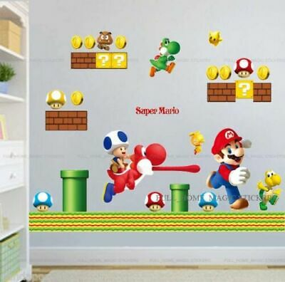 £6.99 • Buy Super Mario Wall Decal Stickers Kids Bedroom Children Game Room Decor Removable