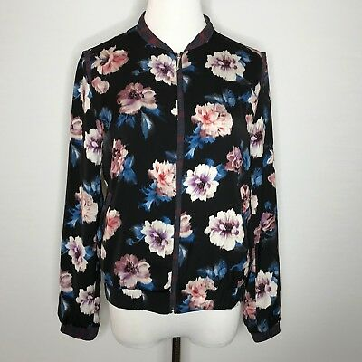 27ce037b Zara Trafaluc Black Pink Floral Bomber Zip Up Jacket, Size Small • 25.00$