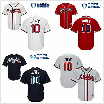 e8f194936 Men s Atlanta Braves  10 Chipper Jones Cool Base Jersey White Navy Red