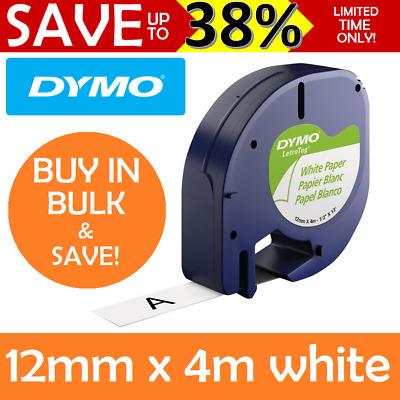 AU14.95 • Buy GENUINE DYMO Letratag Tape Paper White Label Refills Cartridge 12mm X 4m 92630