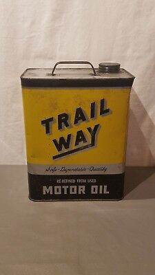 $ CDN59.32 • Buy Vintage Advertising Trail Way 2 Gallon Oil Can Deep Valley Oil Co Ohio