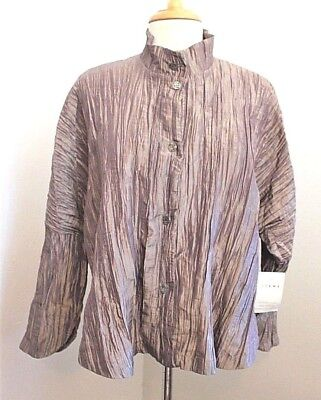 $45 • Buy NWOT ITEMZ Light Brown/Copper Crinkle Evening Top Blouse One Size Fits Most