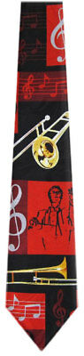 Men's Wind Instrument Trombone Musical Theme Novelty Necktie • 10.95$