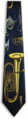 Men's Music Wind Mixed Brass Instruments Trombone Tuba Horn Necktie Ties - New • 10.99$