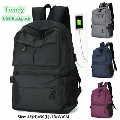 AU25.95 • Buy Men's USB Backpack Women Shoulder Laptop School Bag Travel Luggage  Rucksack AU