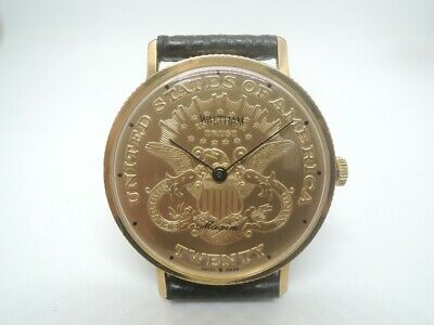 $350 • Buy RARE 1980 WALTHAM Coin Style Man Gold Plated 10M Swiss HT001 Manual Winding 17J