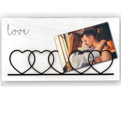 £13 • Buy Wood And Metal Heart Photo Holder Overall Size14.5x8