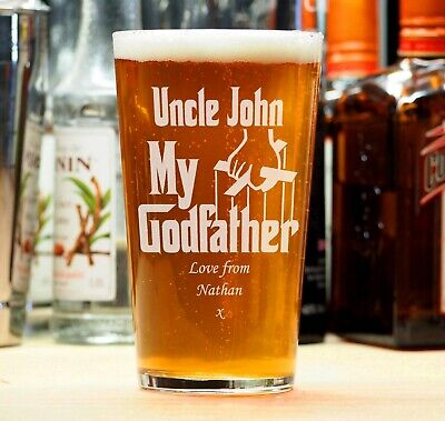 £8.95 • Buy Personalised Engraved Beer Pint Glass Godfather Christening Birthday Gift