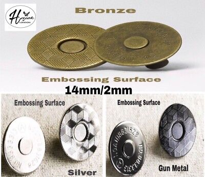 14mm Magnetic Button Snap Fasteners Closures Craft Purse Hat Bag Various Qnt • 1.89£