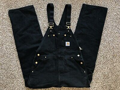 d727ea04ae6e7 USA Carhartt Duck Bib Overall Size 36 X 34 R02 BLK Black Quilt Lined  Insulated •