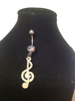 Belly Bar Music Notecharm Silver Plated • 2.49£