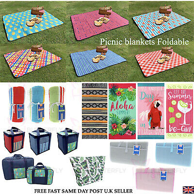 Large Folding Family Travel Outdoor Picnic Camping Beach Bbq Rug Mat Blanket • 6.95£