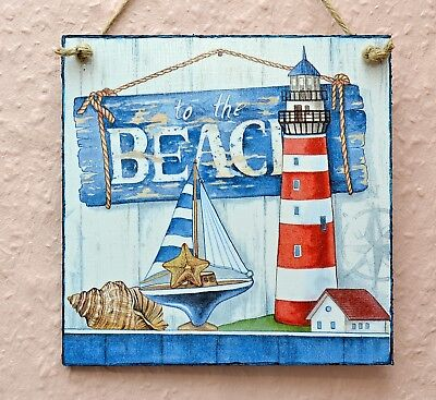 Wall Hanging Plaque/picture Rustic Nautical Ocean Theme Lighthouse Beach Seaside • 8.50£