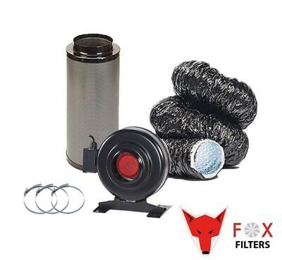 Hydroponics Fox RVK Black Acoustic Carbon Filter Kit Extraction Grow Tent UK • 80.50£