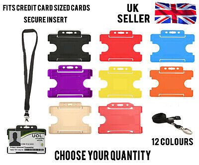 Id Badge Card Holder School Work Pass Visitor Metal Clip Lanyard Neck Strap Lot • 2.09£