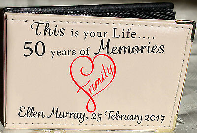 Personalised Photo Album,Memory/Guest Book, 50th Birthday Gift, 6 X 4 • 13.99£
