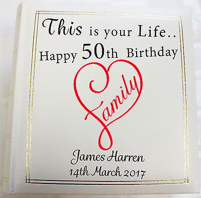 Personalised Photo Album, Memory/Guest Book, 50th Birthday, (6 X 4) 300 Photos • 38.99£