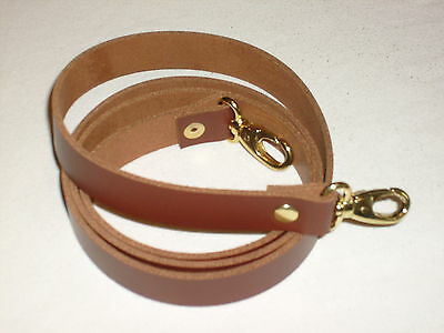 3/4  Tan / Medium Brown Leather Shoulder Bag Replacement Strap Gold Fittings • 11.99£