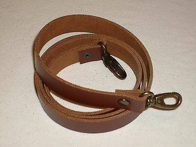 3/4  Tan / Medium Brown Leather Shoulder Bag Replacement Strap Bronze Fittings • 11.99£