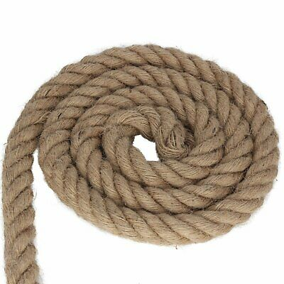 20mm Thick Natural Jute Hessian Rope Cord Braided Twisted Decking Boating Garden • 12.70£