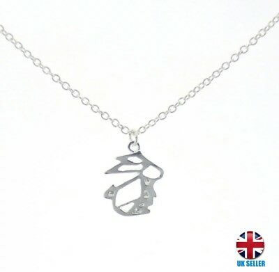 £4.30 • Buy UK Silver Origami Rabbit Necklace A11