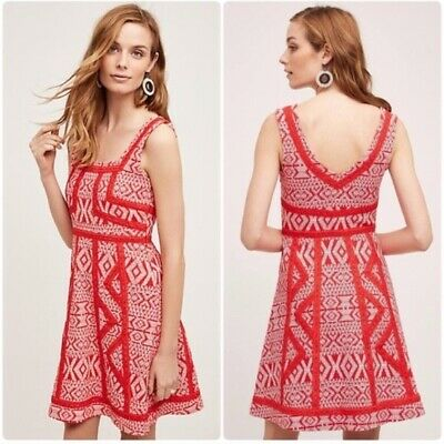 $ CDN68.48 • Buy NEW Anthropologie Emma Dress By Maeve Red Floral Fit + Flare Size Sz 10