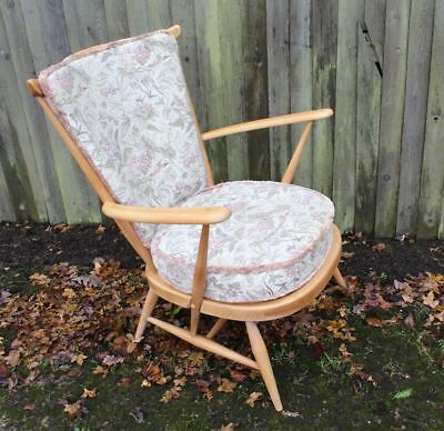 Vintage Ercol Windsor Rare Easy Armchair 359 Beech Elm With Cushions Blonde VGC • 295£