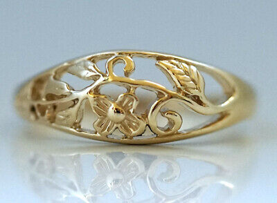 AU233.65 • Buy R053 Lovely 9K Yellow,Rose Or White Gold Floral Blossom Filigree Ring In Yr Size