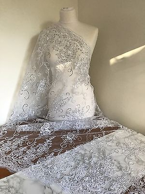 Sequin Embroidered Lace Fabric, Tulle, Bridal Design. Per Half Metre • 5£