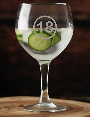 Gin Glass Balloon 18 Years Old, 18th Birthday Hand Etched.124 Ideal Gift Inc • 12.99£