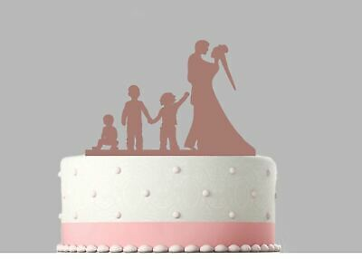 Bride Groom, 3 Children Family Wedding Rose Gold Mirror Acrylic Cake Topper.179 • 14.99£