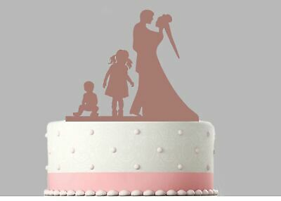 Bride Groom, 2 Children Family Wedding Rose Gold Mirror Acrylic Cake Topper.178 • 8.99£
