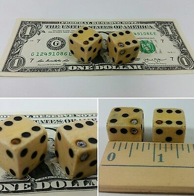 £275.70 • Buy Antique Pair Of Loaded Dice / Die Cheater Casino Dice - Made Of Bone Or Wood
