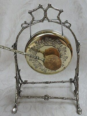 Antique Victorian Dinner Gong Matching Striker Silver Plate Frame Tree Branches • 185£
