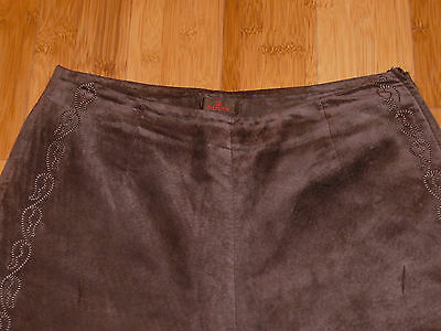 $ CDN42.22 • Buy Chocolate Brown Leather/Suede DANIER Pants With Embroidery.