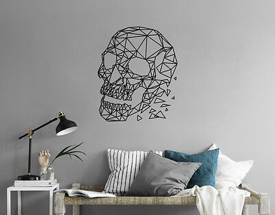 GEOMETRIC SKULL Removable Wall Sticker Decal Minimal Line Interior Design • 21.99£