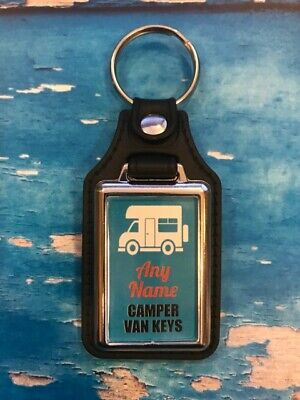 Personalised Camper Van Silver Plated Keyring - Add Your Name - Blue • 3.99£