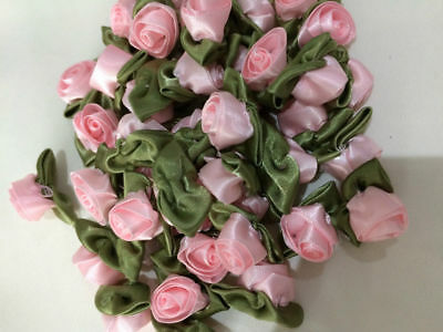 Large Satin Ribbon Rose Buds With Leaf (Pack Of 20) Various Colours Baby/craft • 4.89£