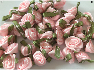 Small Satin Ribbon Rose Buds (Pack Of 20) 12 Colours Baby/Craft/Knitted/Clothes • 2.69£