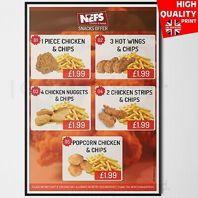 Takeaway Restaurant Takeaway Fast Food Menu Chips/Chicken Poster | A4 A3 A2 A1 • 14.99£