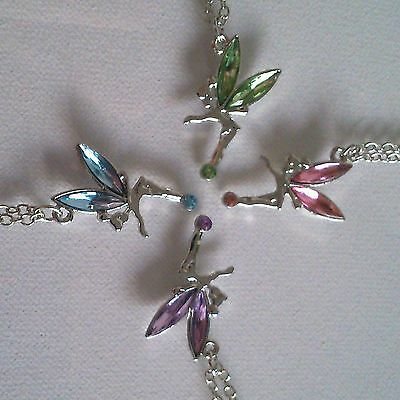 £2.39 • Buy New Fairy Tinkerbell Pendant & Chain Necklace Design With Crystal Colour Wings