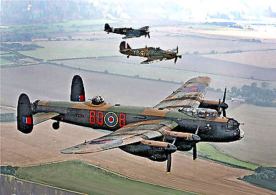 £19.95 • Buy Avro Lancaster Spitfire Hurricane Canvas From Original Watercolour Painting A1