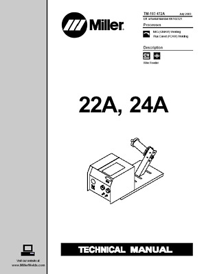 $37.99 • Buy New Miller 22a 24a Technical Manual, Including Parts List, Technical Diagrams
