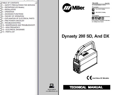 $42.99 • Buy Miller Dynasty 200 Sd And Dx Service Technical Manual