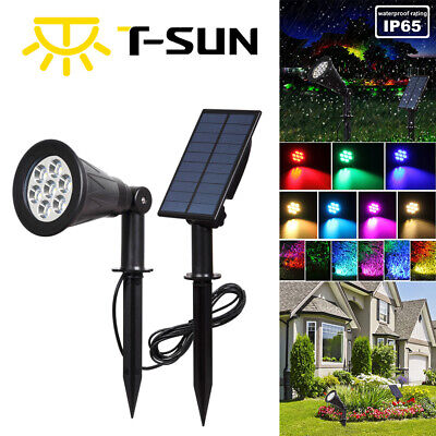 LED Solar Powered Color Changing RGB Spotlight Outdoor Garden Wall Light IP55 • 16.99£