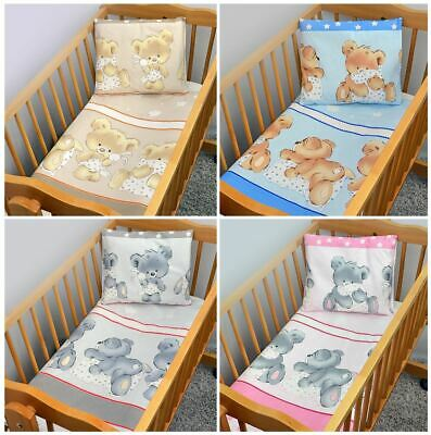 2 Piece Cotton Duvet Cover Pillowcase Set All Sizes For Baby Crib Cot Bed - Mika • 12.99£