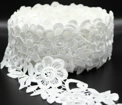 1 Yard White Cotton And Polyester Mix Satin Thread Lace Trim.  • 2.99£