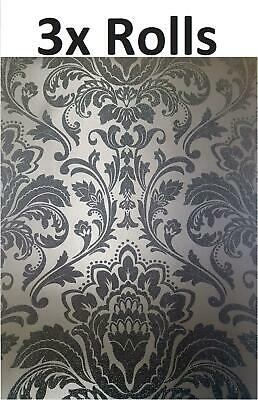 Black Damask Glitter Wallpaper Retro Textured Shimmer Holden Decor 3 X Rolls • 44.99£